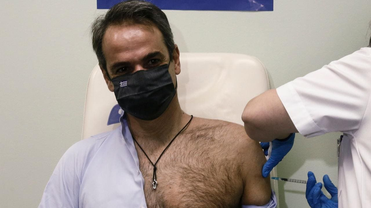 Greek PM Kyriakos Mitsotakis becomes sex symbol after stripping off for vaccine