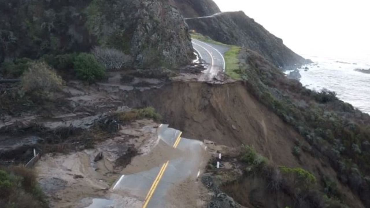 California's Highway 1: Section of road collapses into ocean