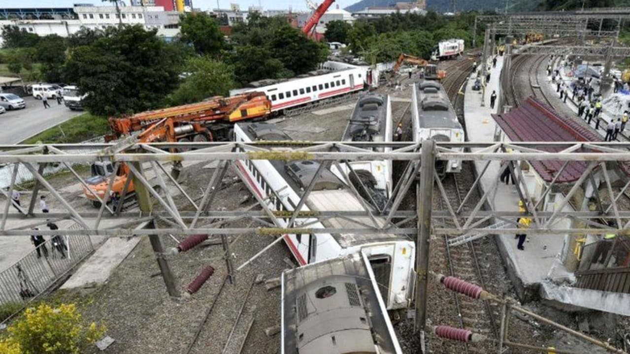 At least 41 people killed after a train derails in Taiwan